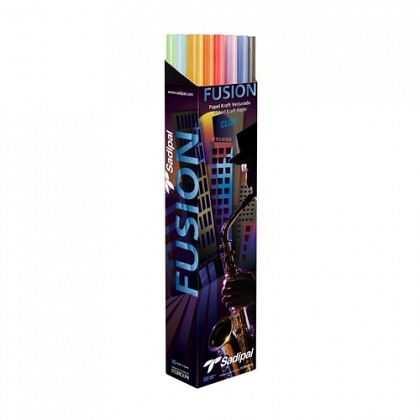 Papel kraft 1x3 m. 65 gr expositor 24 rollos colores Linea Fusion Sadipal